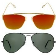 Reyda Aviator, Over-sized Sunglasses(Black, Orange)