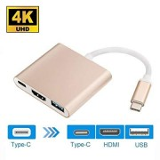 USBC to HDMI Adapter Heckia USB 3.1 Type C to HDMI 4K Adapter with USB 3.0 and Charging Port for MacBook Chromebook Pixel USB C Devices to HDMI Projector - Pink