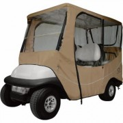 Classic Accessories Fairway 4-Person Golf Cart Travel Enclosure - 4-Person, Long Roof, Light Khaki (Green), 80 Inch L Roof, Model 40-046-345801-00