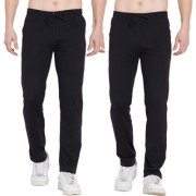 Cliths Men's Slim Fit Cotton Joggers/ Stylish Track Pants For Men- Pack of 2 (Red Black Black Grey)