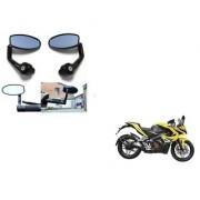 Kunjzone Premium Quality Motorycle Bar End Mirror Rear View Mirror Oval for Bajaj Pulsar RS 200 STD