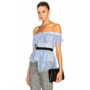self-portrait Off Shoulder Fine Lace Top in Blue. - size 2 (also in 0,10,4,6)