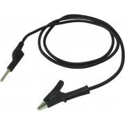Cablu - testere, clema crocodil → borna, tata - negru - 1 m