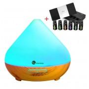 Pachet Aromaterapie Difuzor cu ultrasunete 300 ML si Set 6 uleiuri esentiale