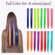 16PCS Colored Hairpieces 22Inch (55CM) Straight Clip in Hair Extensions Fashion Hairpieces Party Highlight Multiple Colors (16pcs Full Color Set)