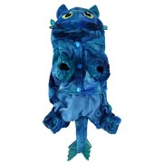 Rrimin Pet Cat Dog Coral Velvet Costumes Fly Dragon Halloween Costume(Blue)(XS)