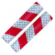 Fényvisszaverő matrica 2db-os 2x10cm műgyantás ezüst-piros 807