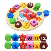 D-Mcark Wooden Clock Number Puzzle Geometric Shape Sorter Wood Puzzles for Preschoolers Toddlers