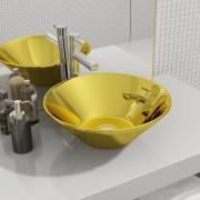 vidaXL Umývadlo 42x14 cm keramické zlaté