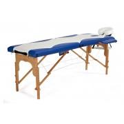 Łóżko do masażu 2 segmentowe drewniane biało - niebieskie