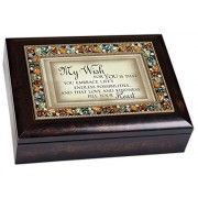 My Wish for You Inspirational Italian Style Burlwood Finish Decorative Jewel Lid Musical Music Jewel