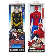 Marvel Titan Hero Series Ultimate Web Warriors Spider-Man VS Thor (Black Suit) Avengers Action Figure Moveable Series