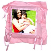 Pink Satin Lace and Button Square Shaped Cushion With Personalized Photo