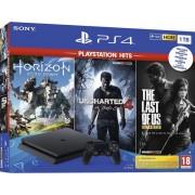 Consola Sony PlayStation 4 Slim 1TB + Joc Horizon Zero Dawn + Uncharted 4 + The Last of Us Remastered (Negru)