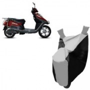 AUTOAGE Premium SILVER with BLACK Bike Body Cover For Hero Electric Bikes Electric Flash
