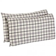 Beam Rustic Plaid Flannel Yarn-Dyed Pillowcase Set, King, Black and White