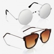 Knotyy Retro Square, Round Sunglasses(Silver, Brown)