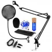 Auna CM001BG set de micrófono V4 micrófono condensador adaptador USB brazo de micrófono protección anti pop azul (60002026-V4KO)