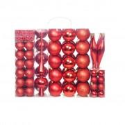 vidaXL Комплект коледни топки от 113 части, 6 см, червени