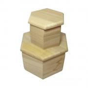 Set doua cutii lemn hexagonale cu capac