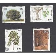 India 1987 Indian Trees Chinar Pipal Sal Banyan Tree Stamp Set 4v MNH