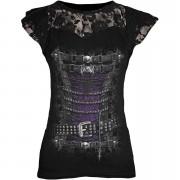 Spiral Camiseta manga casquillo Spiral Waisted Corset - Mujer- Negro - M - Negro