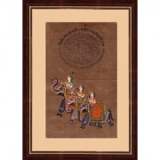 Mughal Period Portrait of 3 Queens Riding on Elephant Indian Miniature Painting on Old Court Stamp Paper with Frame