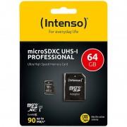 Intenso microSDXC-Speicherkarte UHS-I Professional, 64 GB, bis 90 MB/s, U3