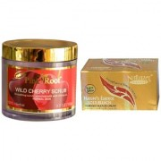 NATURE ESSENCE Gold Bleach 200gm and Pink Root Wild Cherry Scrub 100gm Pack of 2