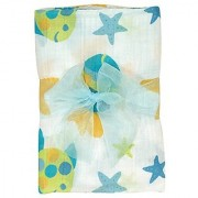 Stephan Baby Go Fish Cotton Muslin Swaddle Blanket Blue Fishes