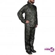 vidaXL Kišno muško odijelo s kapuljačom, Veličina M, Boja kamuflaže