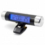 Digitálny teplomer - hodiny do auta s modrým podsvietením