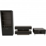 Combo TuHome Rack TV + Mesa de Centro + Bar - Siena/Wengue