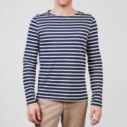 Bretagne-shirt met lange mouwen of T-shirt voor heren, 46 - marine/ecru - Shirt met lange mouwen