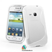 Husa Samsung S6310 Galaxy Young Silicon Gel Tpu S-Line Alba Semitransparenta