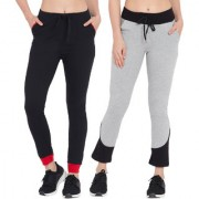 Cliths Women's Black Red Grey Black Pack of 2 Slim Fit Stylish Cotton Track Pant/ Jogger Pant For Women/Girls
