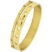 The Jewelbox Belt 18K Gold 316L Surgical Stainless Steel Openable Bangle Cuff Kada Bracelet For Men