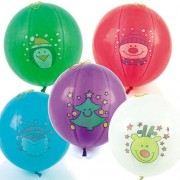 Christmas Punch Balloons - 6 Punching Ball Balloons in assorted Christmas characters & colours. Inflated size 35cm. Strong elastic attached.