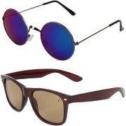 Zyaden Combo of Round And Wayfarer Sunglasses (Combo-154)