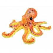 Merkloos Pluche octopus knuffel oranje glitter 25 cm - Knuffel zeedieren