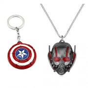 LADY HAWK® Avengers Collection - Captain America (CP3) Metal Key Chain & ANT Man Imported Pendant / Necklace with Chain. (2 pcs Avengers Set)