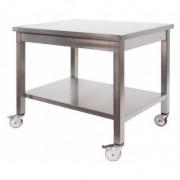 Tavolo in Acciaio Inox Professionale su Ruote 1200x700x850