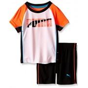 PUMA Baby Boys' 2 Piezas, Playera y Short, Naranja, 24 Meses