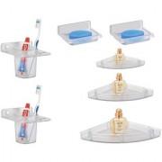 Kamal Soap Dish Glass Holder (Buy 1Get 1) With Corner Shelf Set