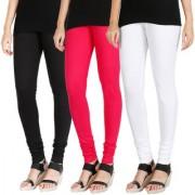 HRINKAR BLACK DARK PINK WHITE Soft Cotton Lycra Plain leggings for womens combo Pack of 3 Size - L XL XXL - HLGCMB0648-XL