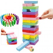 PIGLOO™ 48Pcs Color Wooden Blocks Tumbling Stacking Jenga Building Tower Game