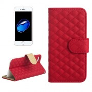 AA00355 For iPhone 7 Diamond Lattice Texture Horizontal Flip Leather Protective Case with Holder & Card Slots & Wallet & Photo Frame (Red)