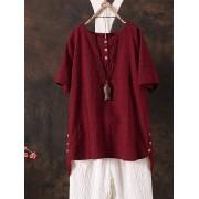 Meco Women Short Sleeve Solid Asymmetric Plaid Cotton Blouse