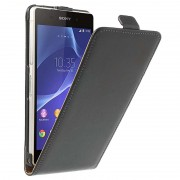 Capa com Cobertura Vertical de Couro para Sony Xperia Z2 - Preto