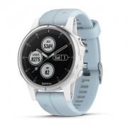 Watch, Garmin fenix® 5S Plus, За фитнес, здраве и мултиспорт, Бял с Seafoam каишка (010-01987-23)
